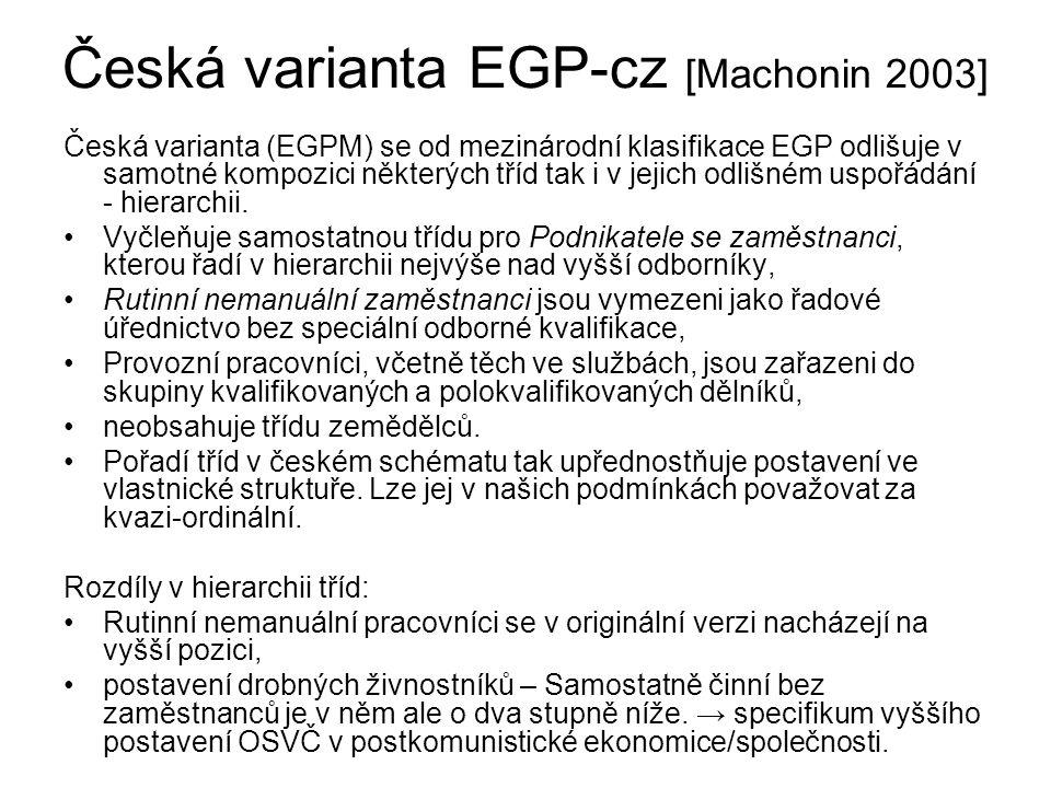 Česká varianta EGP-cz [Machonin 2003]